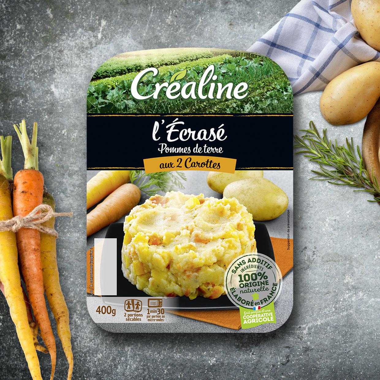 L'écrasé de pommes de terre aux 2 carottes par Créaline : purées au rayon frais