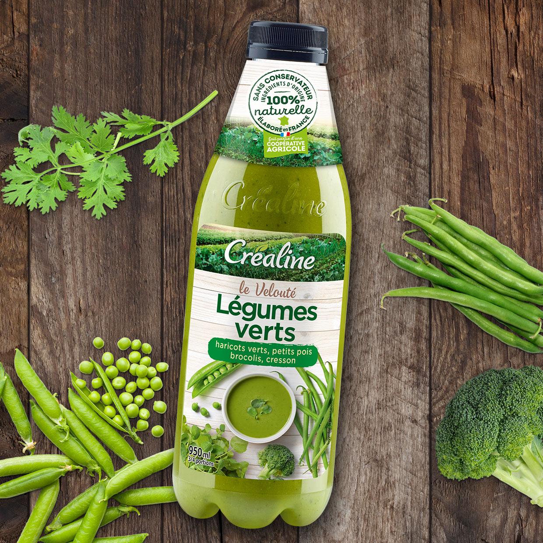 Soupe de légumes verts au rayon frais : haricots verts - petits pois - brocolis - cresson