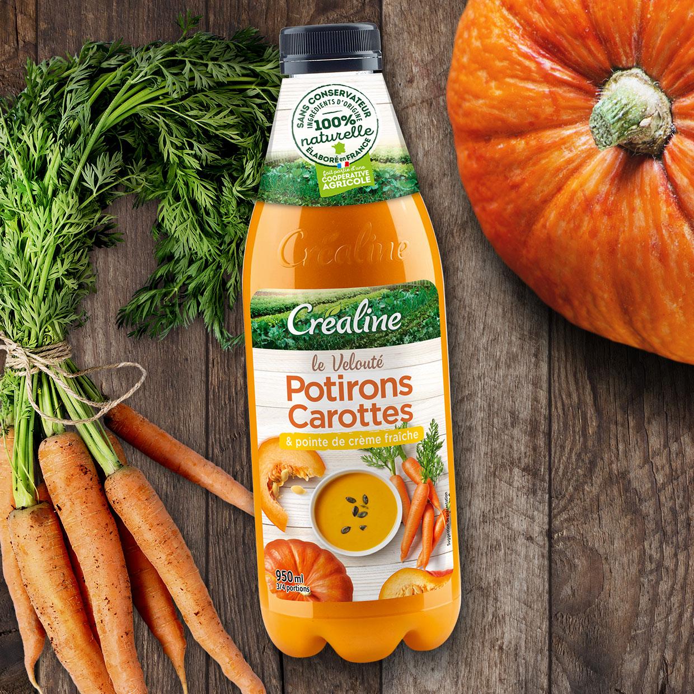 Velouté potirons carottes et pointe de crème fraîche : une soupe potiron carottes au rayon frais