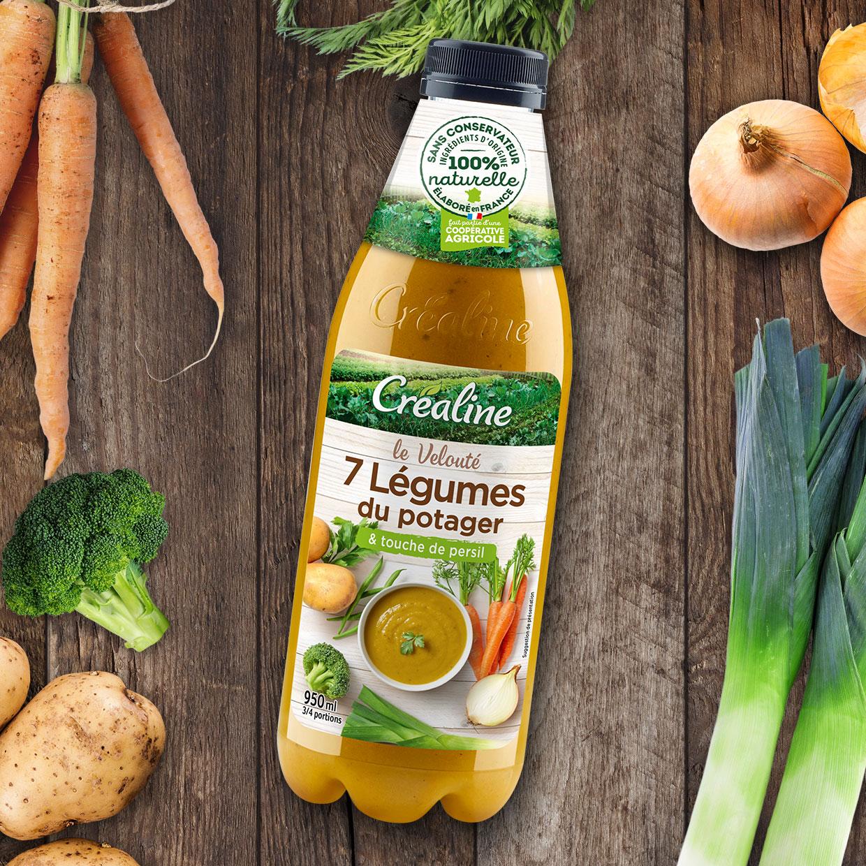 Velouté 7 légumes du potager et sa touche de persil : poireaux - carottes - pommes de terre - brocolis - oignons