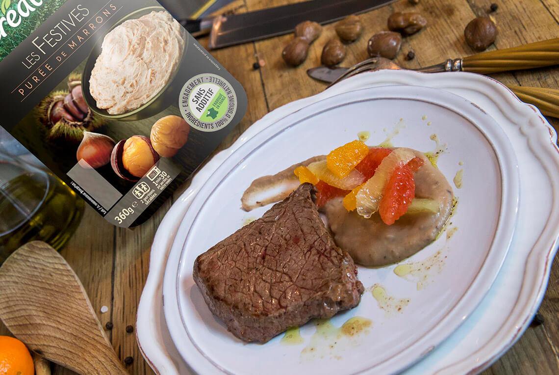 Recette festive pur e de marrons et pi ce de b uf aux agrumes - Cuire des marrons en conserve ...