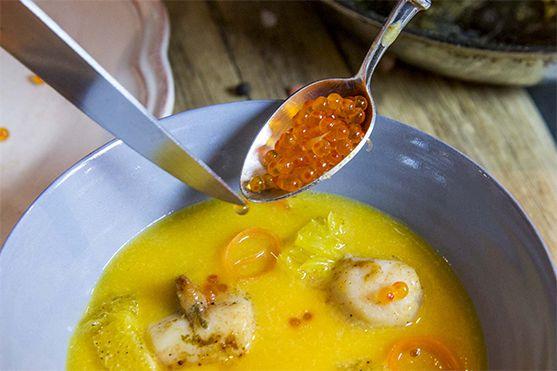 Créaline recette : velouté potirons carottes, Saint Jacques pôélées
