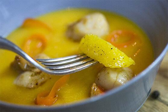 velouté potirons carottes, Saint Jacques pôélées recette par Créaline