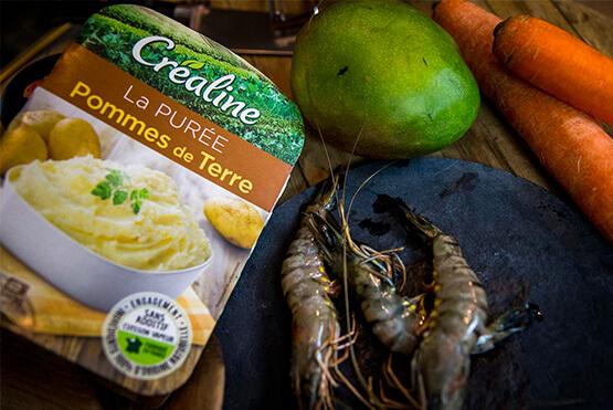 Créaline : recette purée de pommes de terre mangue et gambas