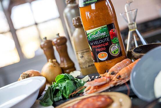 Créaline recette velouté provençal au pesto entre terre et mer