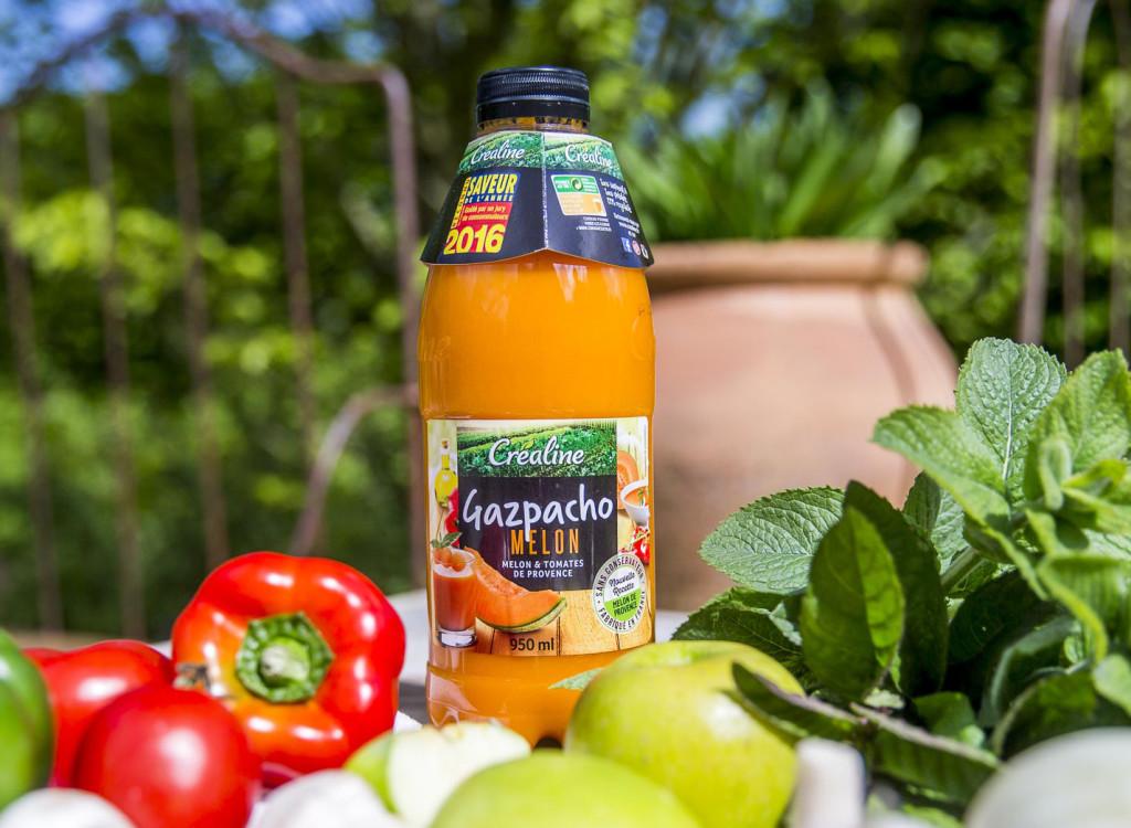 Créaline recette d'été rafraichissante : Gaspacho de melon petits légumes croquants et jambon de pays