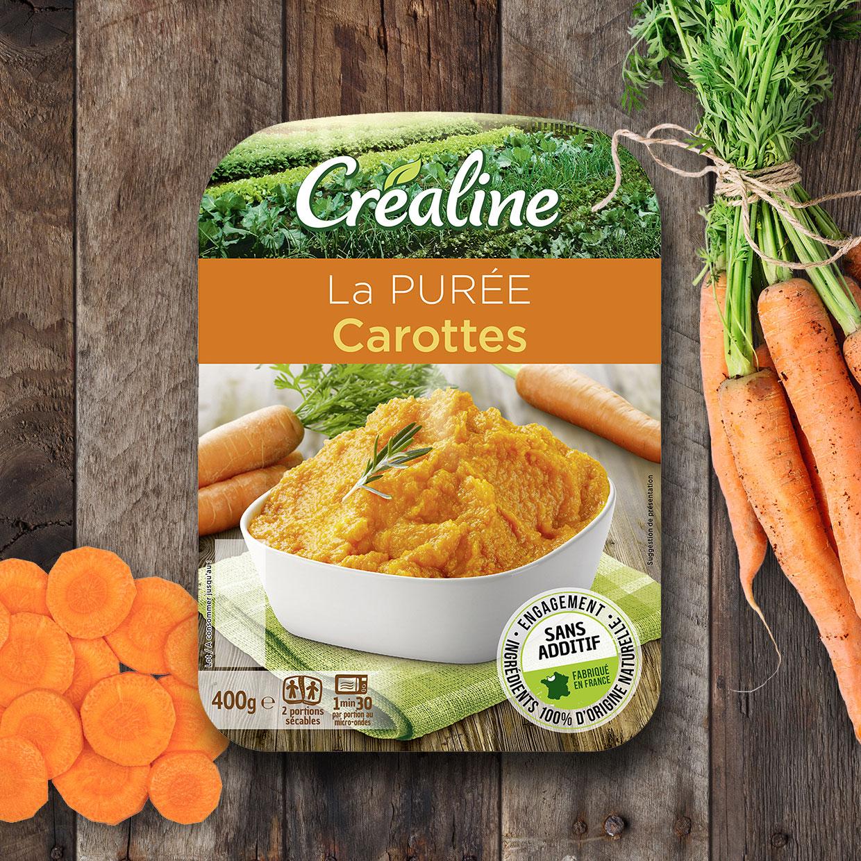 La purée carottes : une purée classique Créaline au rayon frais