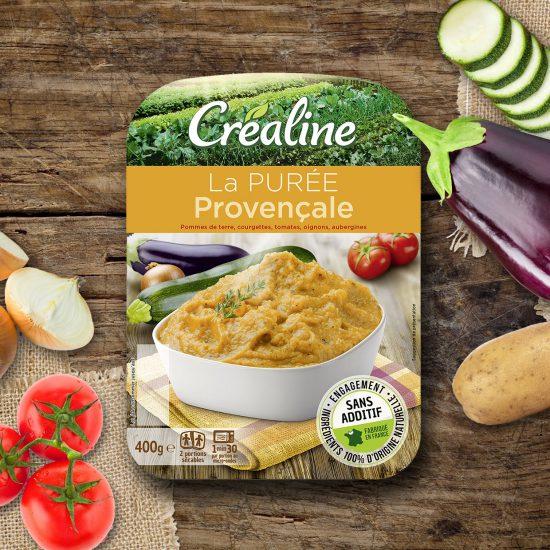 La purée provençale Créaline : purée pommes de terre courgettes tomates oignons aubergines