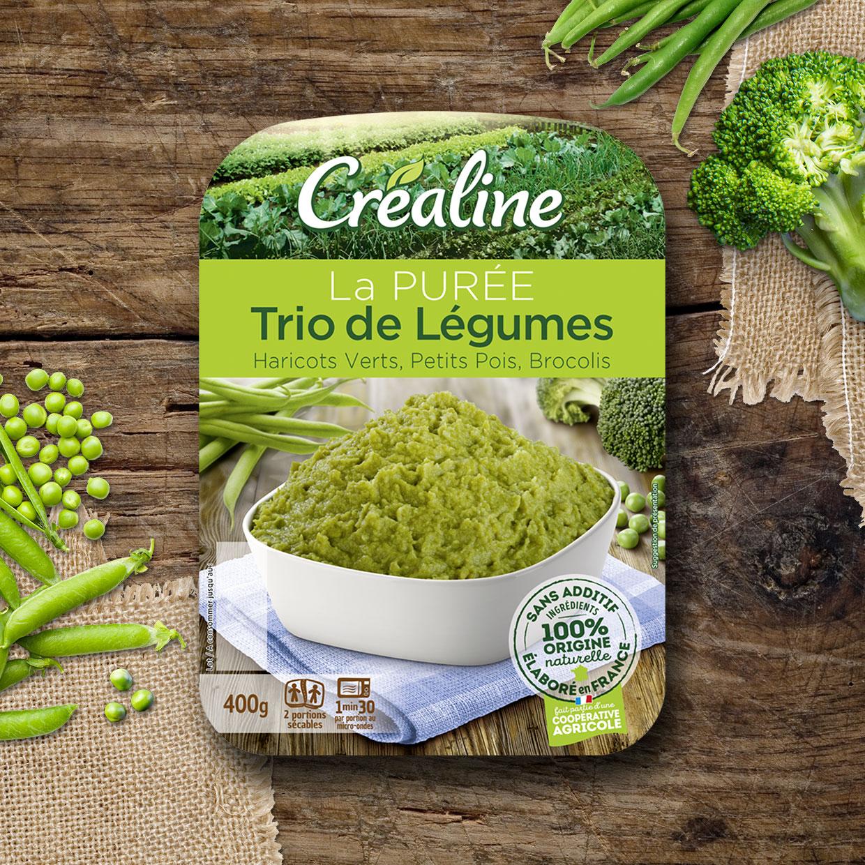 La purée trio de légumes : haricots verts - petits pois - brocolis. Une purée par Créaline