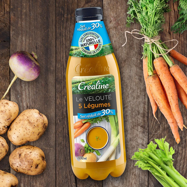 Le velouté 5 légumes sel réduit de 30% : une délicieuse soupe au rayon frais