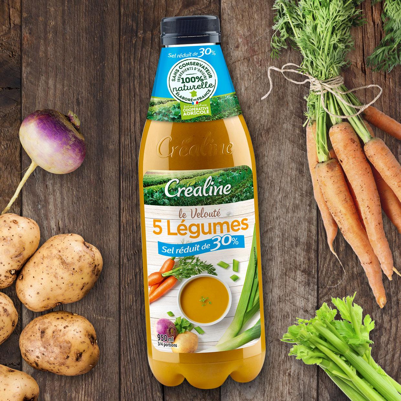 Le velouté 5 légumes sel réduit de 30% : un velouté de légumes au rayon frais par Créaline