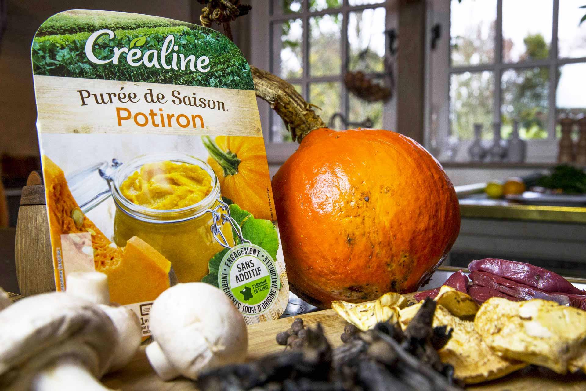 Recette Créaline : Purée de Potiron aux champignons et magret de canard