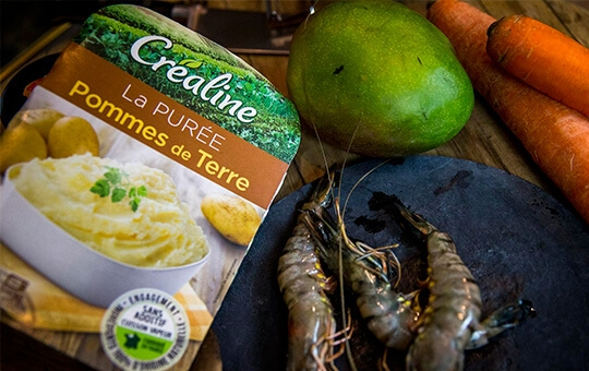 Créaline recette purée de pommes de terre mangue et gambas