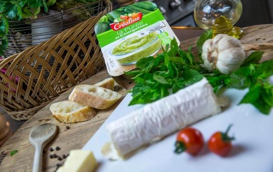 Créaline recette : purée de courgettes gratinée à la menthe et au chèvre