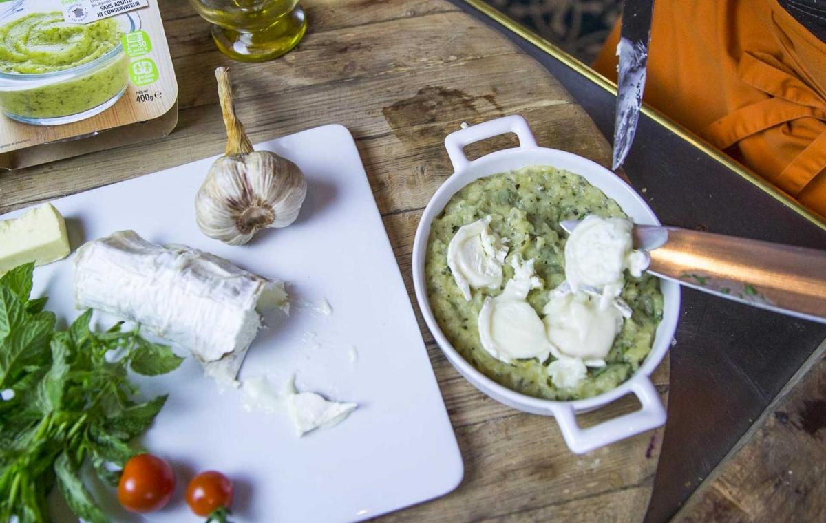 Recette Créaline purée de courgettes gratinée à la menthe et au fromage de chèvre