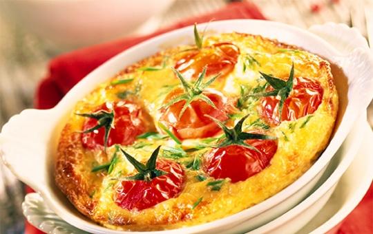 Créaline recette : clafoutis aux brocolis et tomates cerises