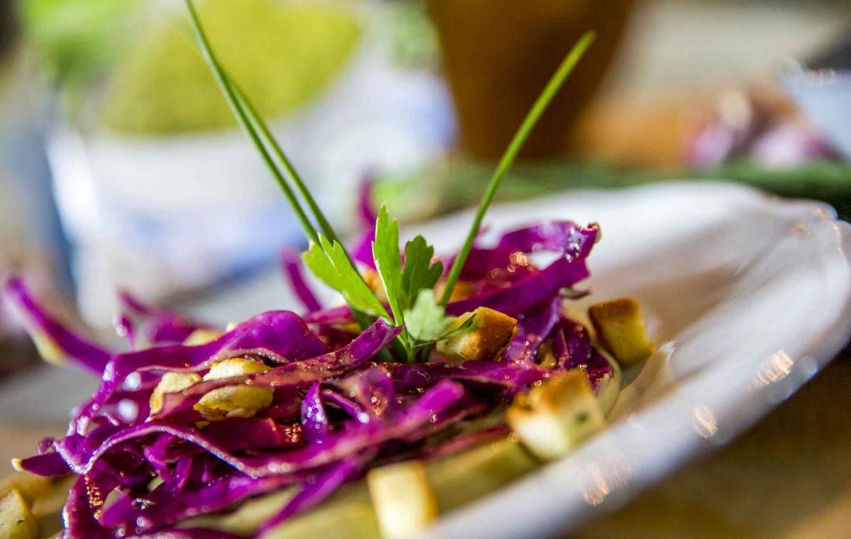 Une recette végétarienne avec la purée trio de légumes Créaline : crémeux de légumes verts au chou rouge