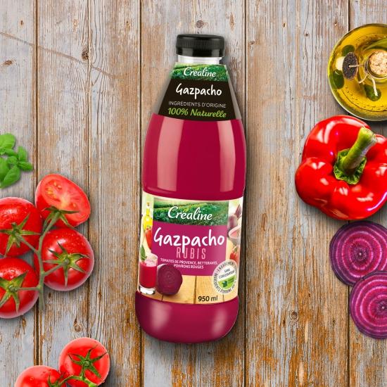 La gazpacho rubis Créaline : un gazpacho tomates betteraves poivrons rouges