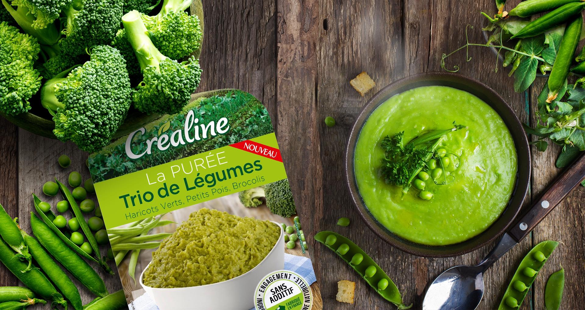 La purée trio de légumes Créaline : haricots verts, petits pois, brocolis
