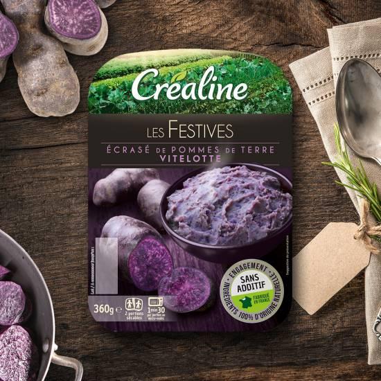 La purée festive Créaline : écrasé de pommes de terre vitelottes au rayon frais