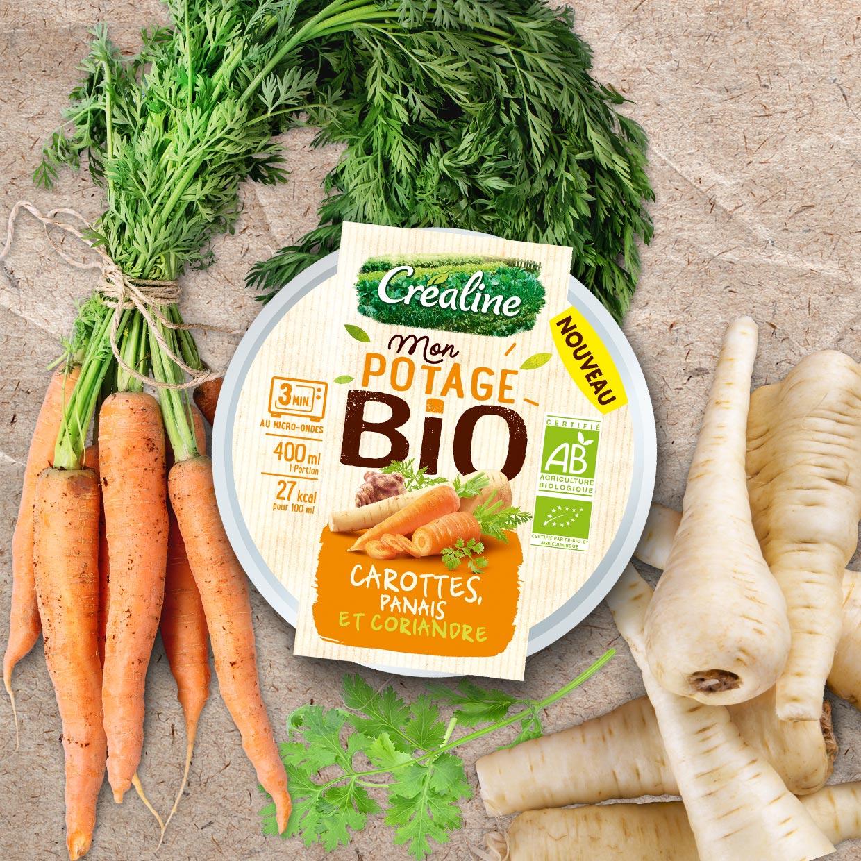 Cup individuelle Mon potage Bio Créaline : soupe Bio carottes panais et coriandre