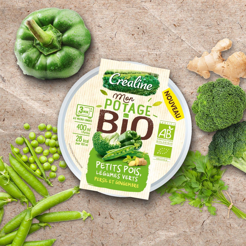 Cup individuelle Mon potage Bio : soupe bio petits pois légumes verts persil et gingembre
