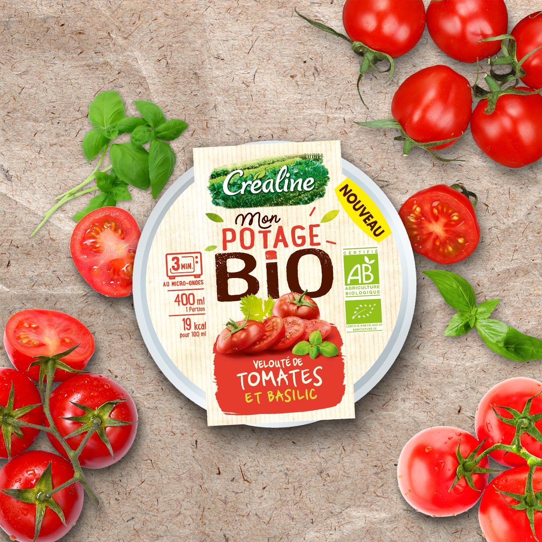 Cup individuelle velouté de tomates Bio et basilic : soupe Bio au rayon frais Créaline