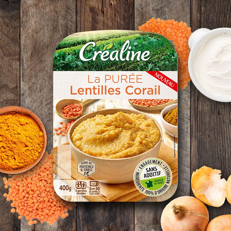La purée lentilles corail : une purée au rayon frais Créaline