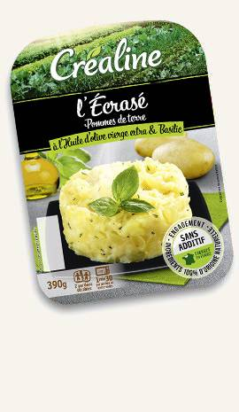 L'écrasé pommes de terre à l'huile d'olive vierge extra et basilic Créaline