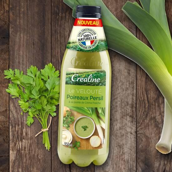 Le velouté poireaux persil et sa pointe de crème fraiche : une savoureuse soupe Créaline au rayon frais