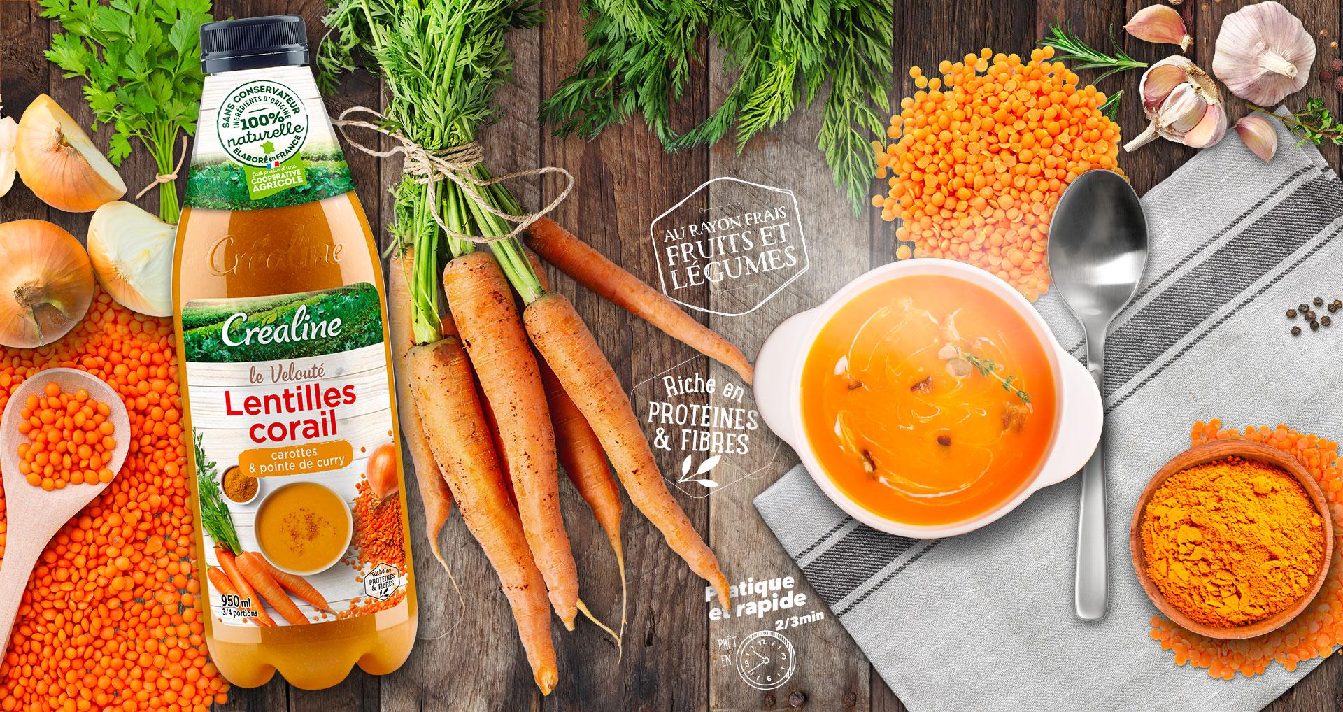 Velouté lentilles corail - carottes et sa pointe de curry. Velouté de lentilles au rayon frais Créaline