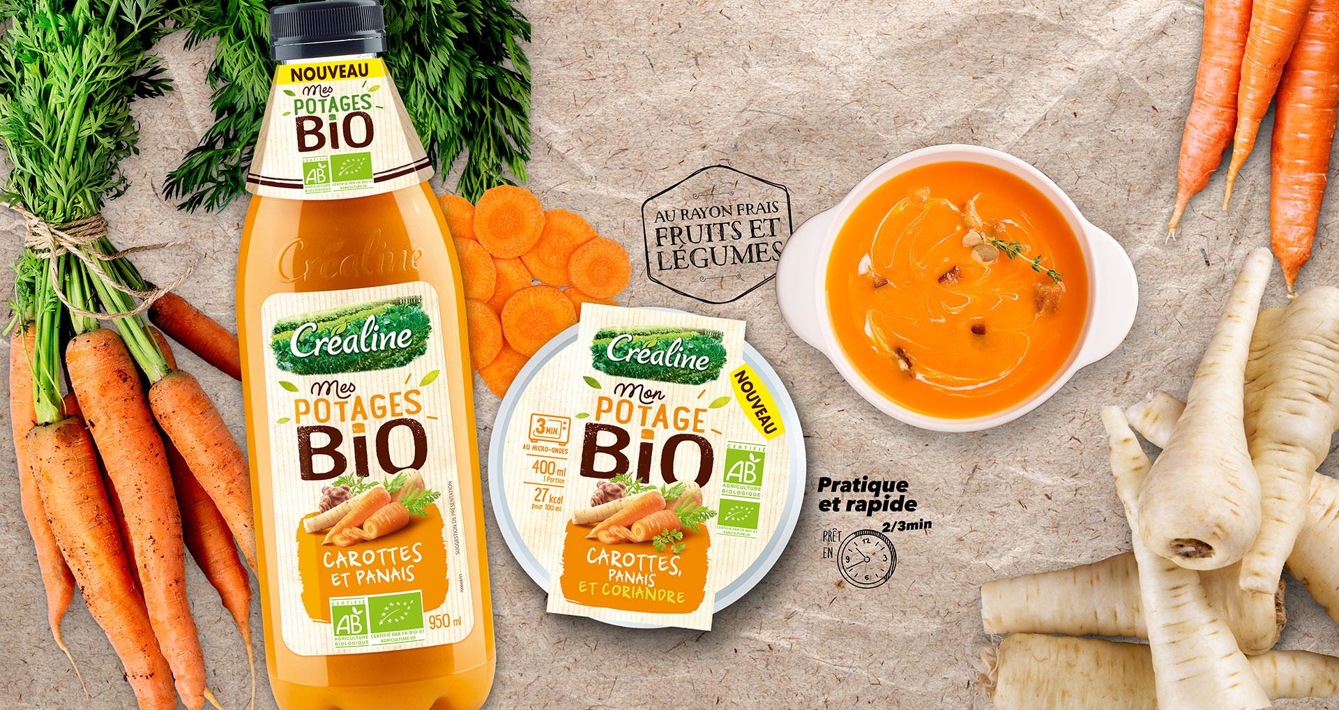 Mon potage Bio carottes et panais en bouteille et en cup : les soupes Bio du rayon frais