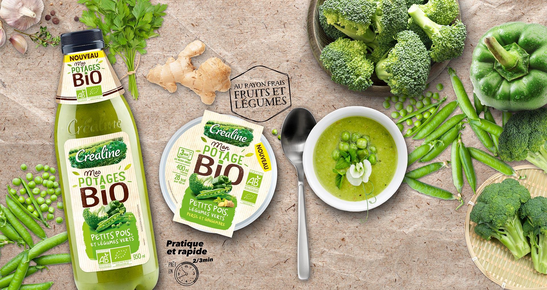 Mes potages Bio soupe petits pois et légumes verts en bouteille et en cup individuelle : soupe Bio au rayon frais