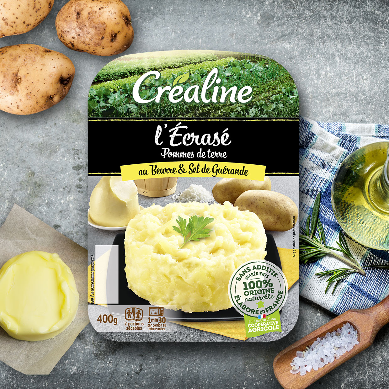 L'écrasé de pomme de terre au beurre et sel de Guérande par Créaline : purée au rayon frais