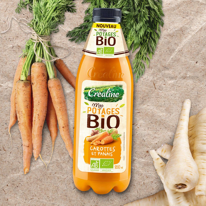 Soupe carottes et panais bio : une soupe de carottes bio au rayon frais par Créaline