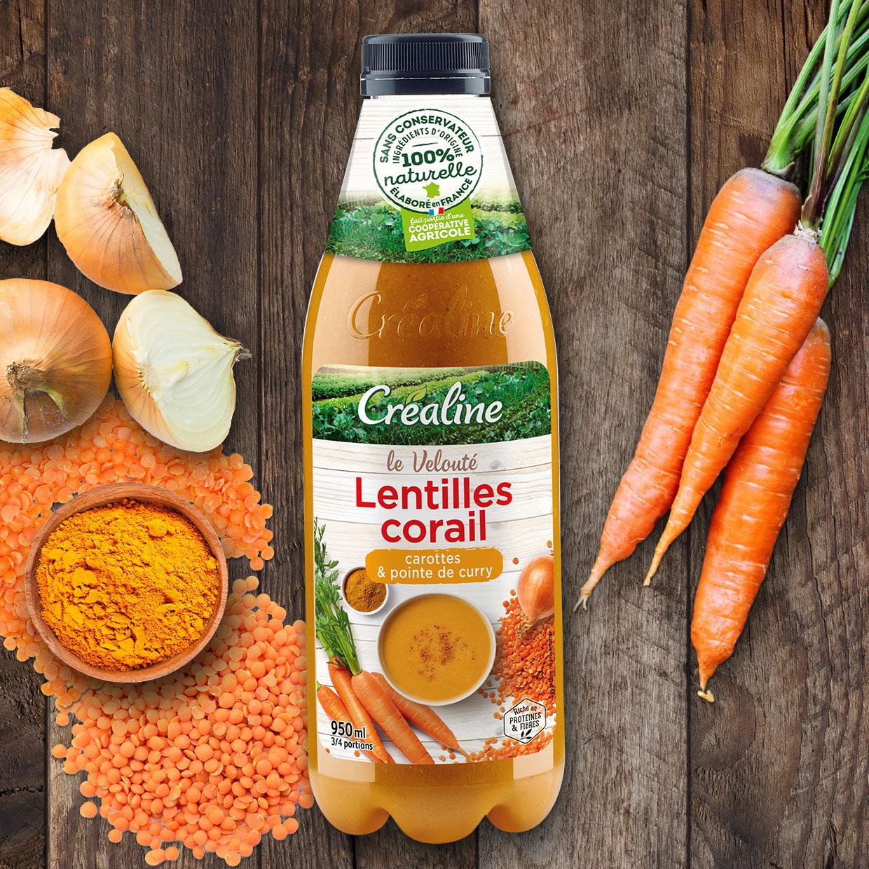 Velouté de lentilles corail, carottes et pointe de curry. Velouté lentilles corail au rayon frais