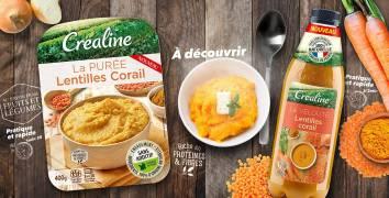 Velouté et purée lentilles corail Créaline : soupes et purées au rayon frais