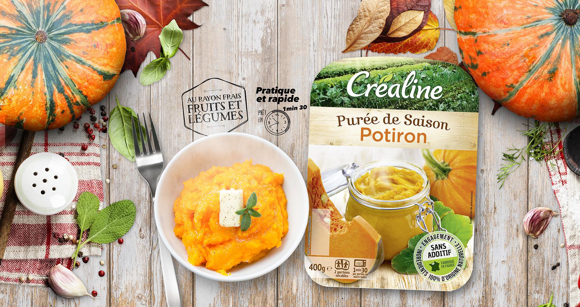 Purée de potiron : une savoureuse purée de saison au rayon frais Créaline
