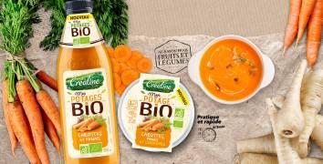 Soupe Bio carottes panais en bouteille et en cup individuelle : soupe bio au rayon frais