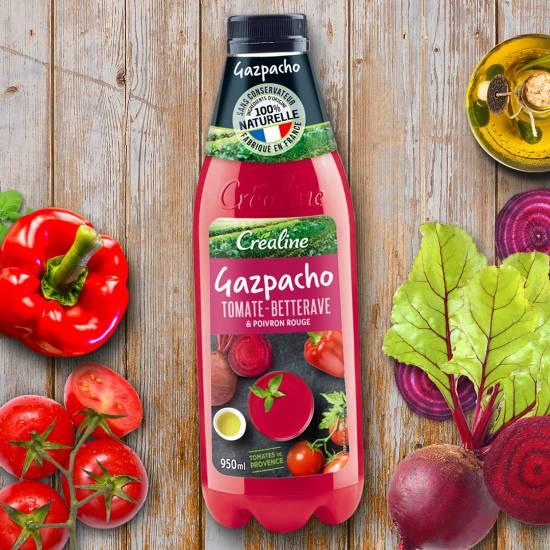 Gazpacho tomate betterave et poivron rouge au rayon frais Créaline
