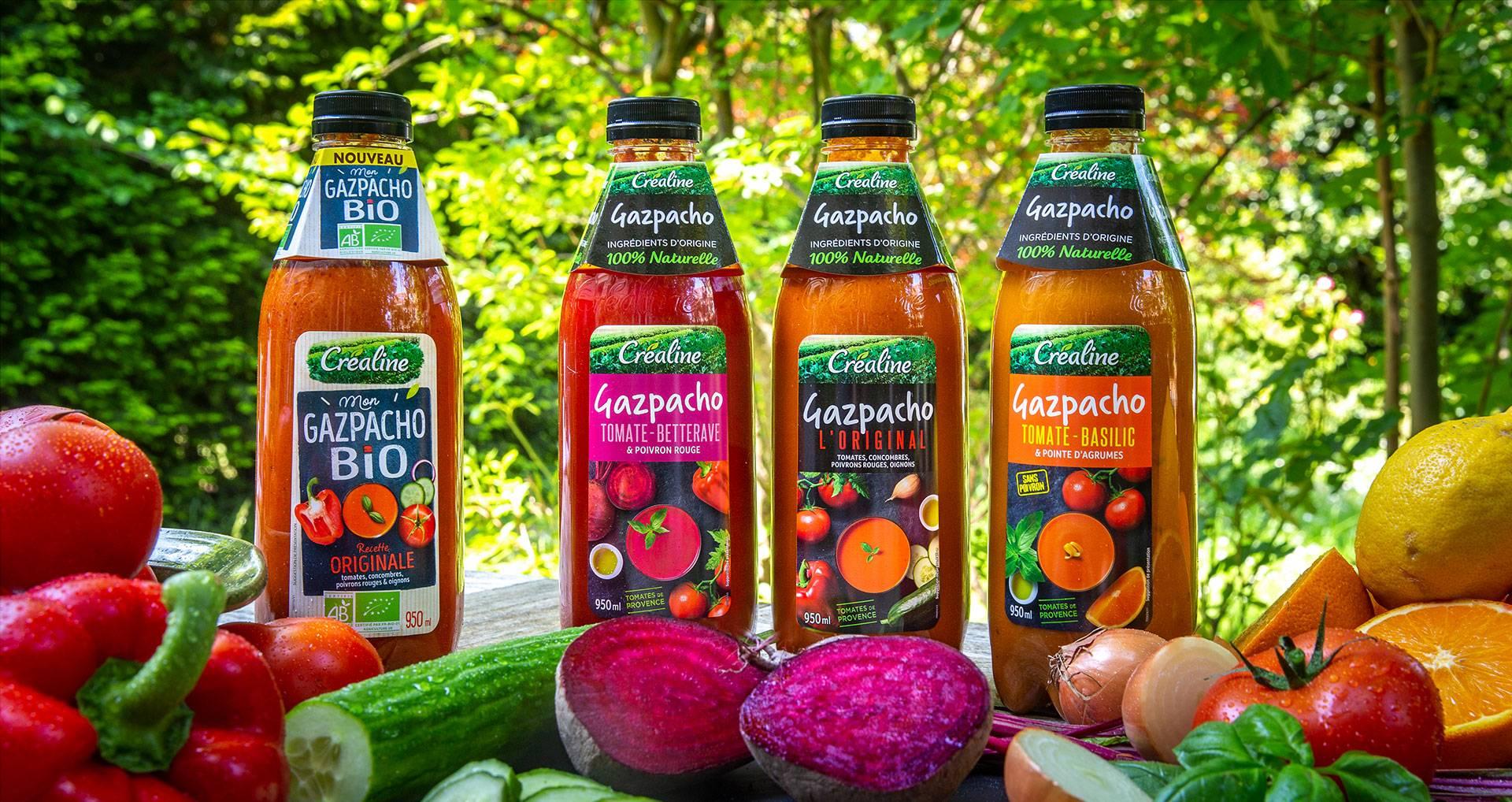 Gazpachos Créaline betterave tomate basilic original et bio
