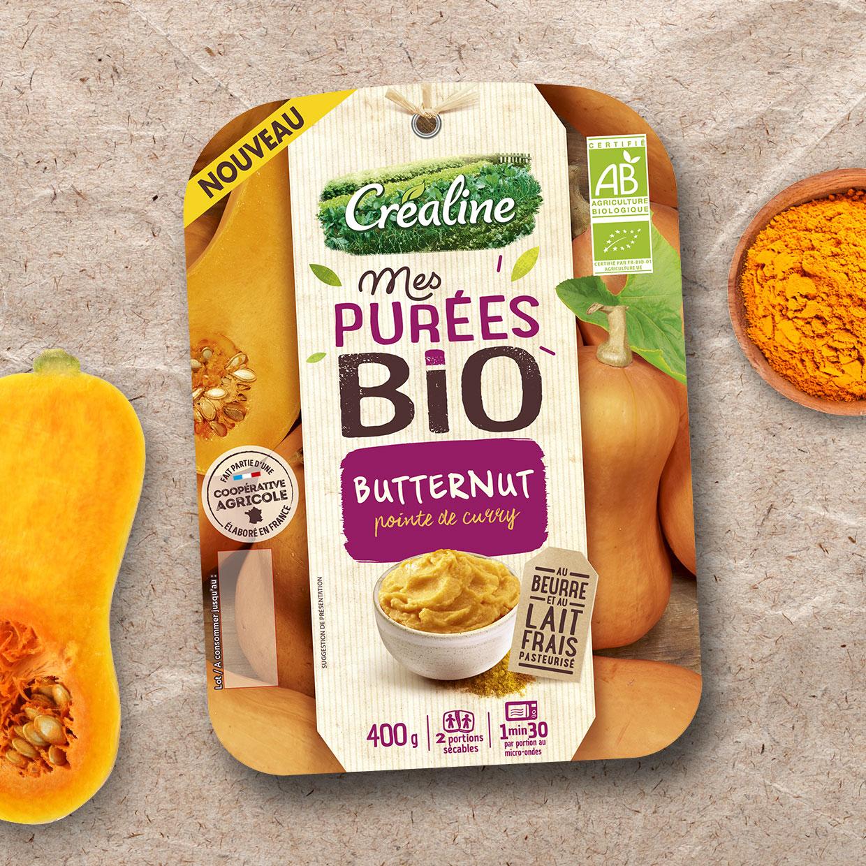 Purée du butternut bio pointe de curry : une purée bio au rayon frais