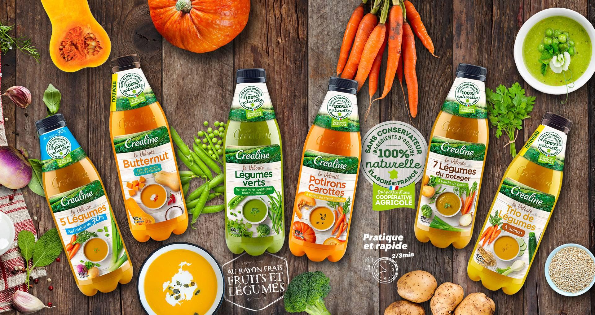 Les soupes et veloutés de légumes de saison par Créaline : de délicieuses soupes au rayon frais