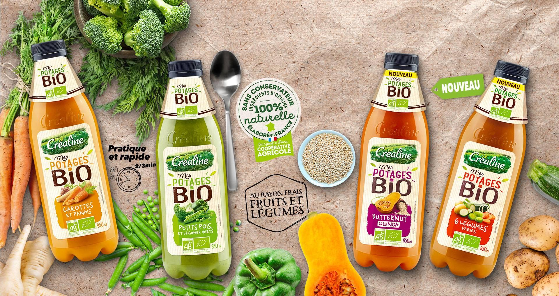 Soupes de légumes bio : carottes panais - petits pois et légumes verts - butternut et quinoa - 6 légumes variés