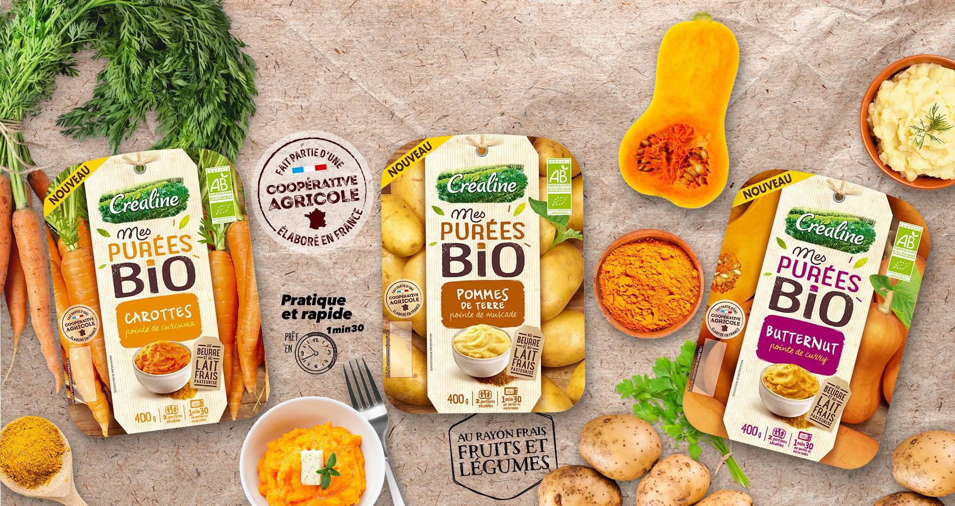 Les purées bio au rayon frais : purée bio carottes - purée bio pommes de terre - purée bio butternut