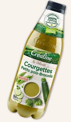 Soupe courgettes petits pois brocolis : soupe Créaline au rayon frais