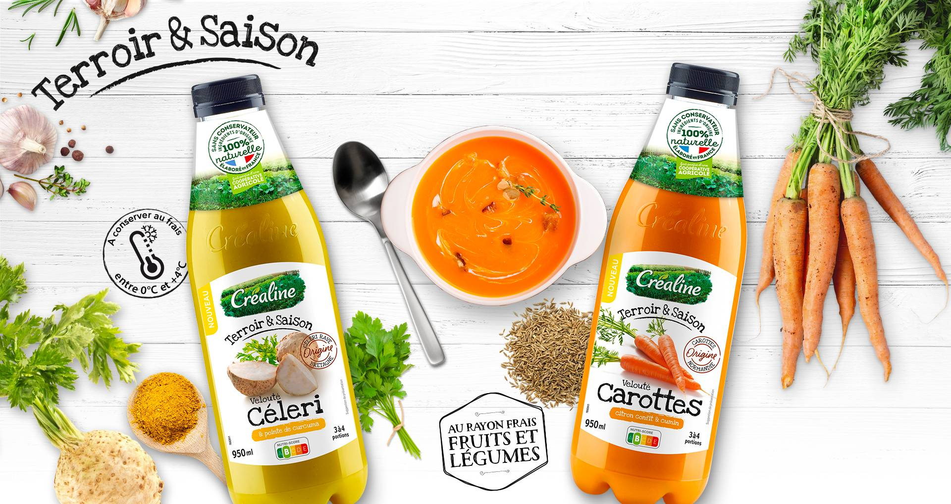 Soupes de légumes : velouté de céleri et velouté de carottes