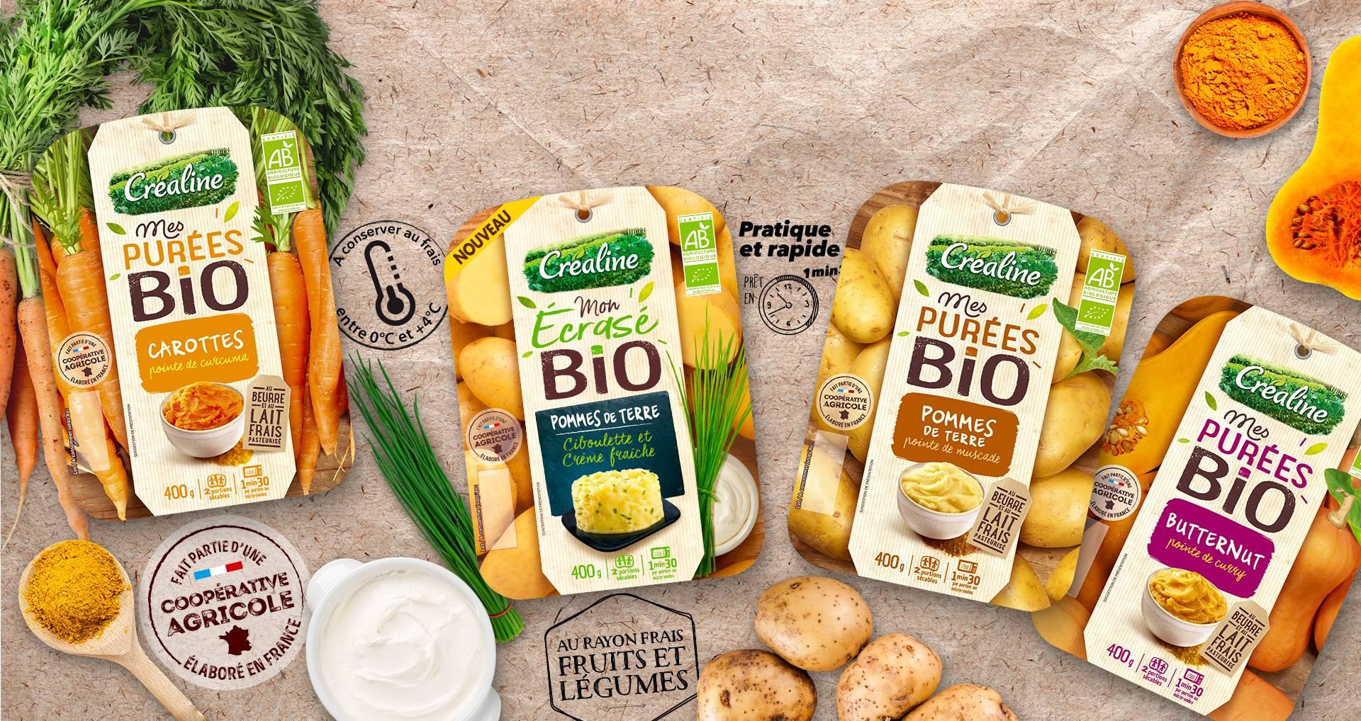 Découvrez les purées bio et l'écrasé de pommes de terre bio par Créaline
