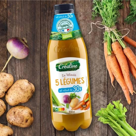 Le velouté 5 légumes sel réduit : une recette de soupe onctueuse par Créaline