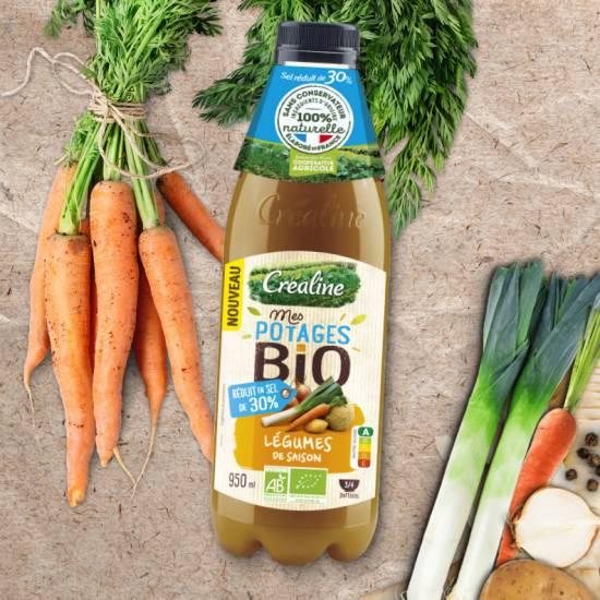 Soupe Bio : légumes de saison réduit en sel de 30%. Une recette de soupe Bio Créaline